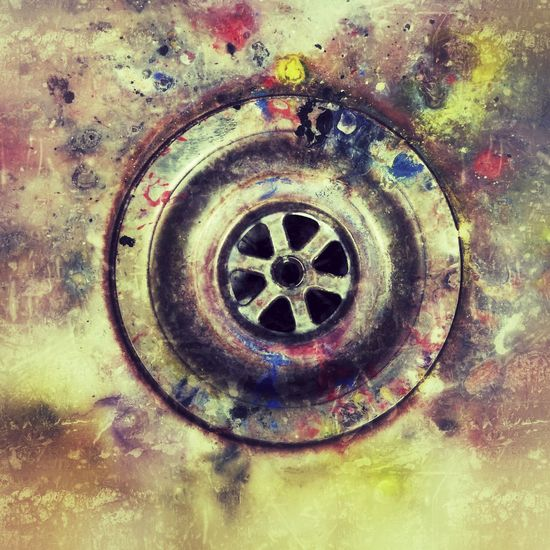Artists sink paint splattered plug hole Sink Drain Metal Kitchen Sink Domestic Room Abandoned Unhygienic No People Domestic Life Indoors  Waste Management Water Rusty Day studio Art Artist
