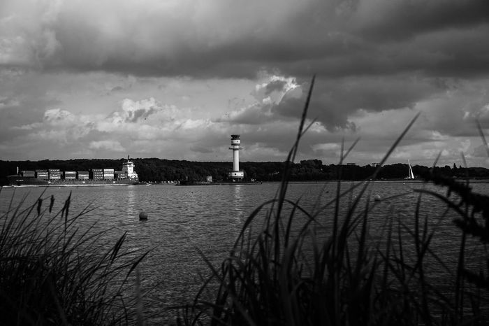 Sea And Sky Sky And Clouds Lighthouse Shillouette Ship Seaside Blackandwhite Black And White Black & White