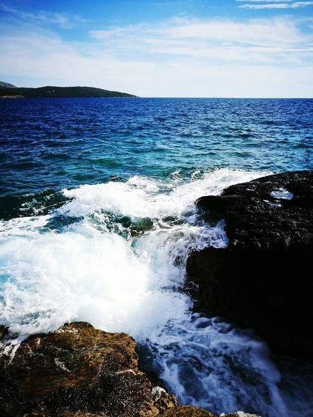 Horizon Over Water Water Sea Tranquil Scene Beauty In Nature Wave Travel Destinations Nature Tourism Splashing Blue Power In Nature Montenegro Made By Me Aurora Minna Nature Vibrant Color Outdoors Non-urban Scene Check This Out