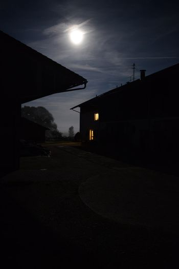 Night Silhouette Outdoors Moon Illuminated Moody Dark Frightening Spooky Farmhouse Bavaria Germany
