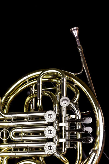 Music Instrument French Horn, French horn Isolated on black Musical Instrument Music Arts Culture And Entertainment Brass Instrument  Studio Shot Black Background Metal Brass Indoors  Wind Instrument Musical Equipment Trumpet No People Close-up Jazz Music Gold Colored Cut Out Shiny Single Object Reflection