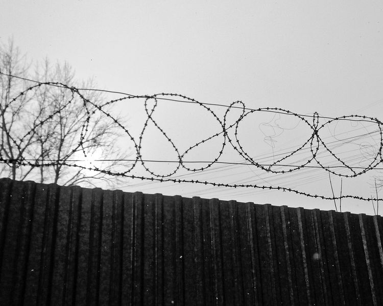 Fence Metal Day Sky Low Angle View No People Razor Wire Security Protection Safety Barbed Wire