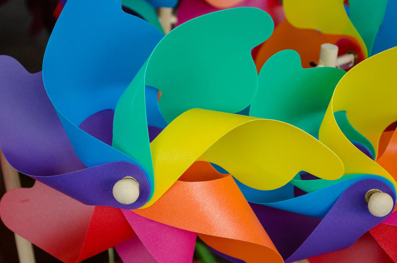 Full frame shot of multi colored paper toy