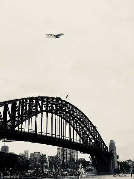 Quantas Australiaday Sydney Harbour Bridge Australia Transportation Flying Bridge - Man Made Structure Built Structure Low Angle View Travel Sky City Outdoors Nature Day Architecture No People