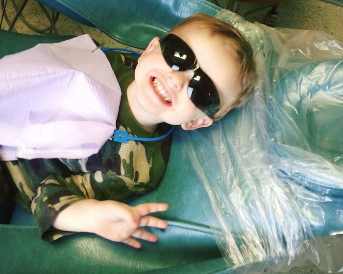 Cheese! Taking Photos Growinguptoofast Letthembelittle Cutie Pie  At The Dentist Baby Teeth Big Smile Cool Shades Perfectmoments