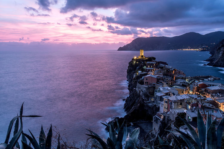 Vernazza at sunset 5 Terre 5 Terre,italy 💗 Architecture Beauty In Nature Building Exterior Built Structure Cloud - Sky Day Horizon Over Water Mountain Nature No People Outdoors Scenics Sea Sky Sunset Tranquil Scene Tranquility Tree Water