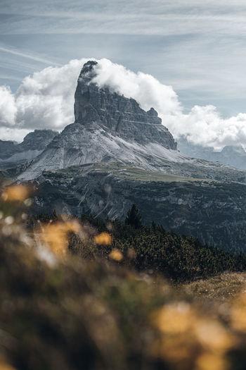 Mountain top of tre cime dolomites