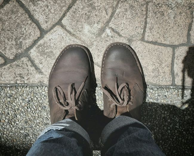Working shoe. Low Section Shoe Human Leg Human Foot Personal Perspective High Angle View Outdoors FUJIFILM X100S Fuji X100s Fujixseries Fujifilm_xseries Singapore EyeEm Selects EyeEmNewHere Fujifeed Fujifilm Clarks Clarksoriginals Clarksshoes Brown Fashion Lace