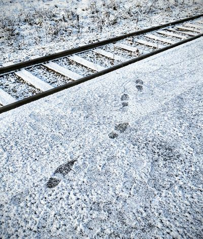 Tracks Tracks In Snow Railway Track Footprints Snow Backgrounds Full Frame Pattern Day Outdoors High Angle View