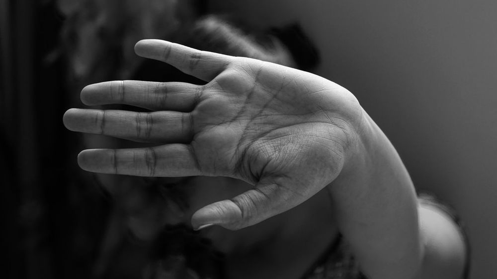 50mm F1.8 Palm Sony Alpha 68 Stop Violence Against Women!!! Adult Blackandwhite Blackandwhite Photography Close-up Day Focus On Foreground Human Body Part Human Finger Human Hand Indoors  One Person Real People Women Women Around The World Women Of EyeEm Women Power