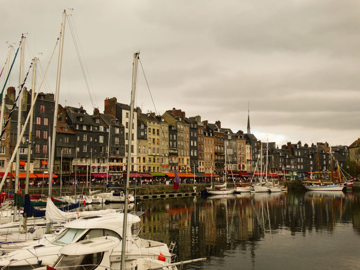 Honfleur Nautical Vessel Water Transportation Harbor Moored Mode Of Transportation Architecture Sailboat Built Structure Sky Mast Pole Reflection Nature Cloud - Sky Waterfront City No People Outdoors Port Marina Yacht Canal Honfleur Normandie