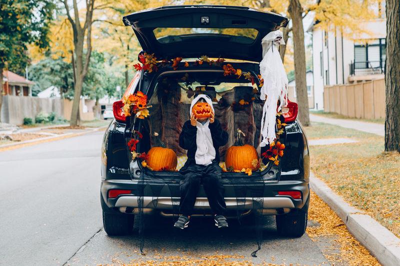 Cute kid sitting on car trunk in car