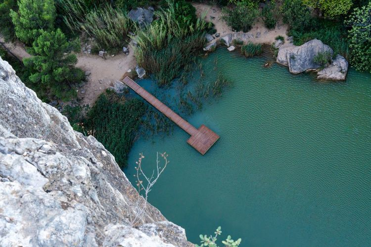 High angle view of rock by river