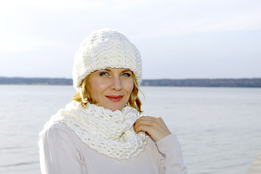 Blonde middle-aged woman on an autumn walk at the lake, portrait Autumn Walk Adult Adults Only Beautiful Woman Close-up Day Front View Lake Lakeside Leisure Leisure Activity Lifestyles Middle Aged Nature One Person Outdoors People Portrait Smiling Warm Clothing Water Women Young Adult Young Women