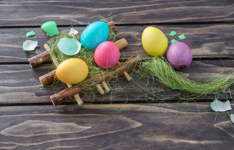 High Angle View Of Easter Eggs On Table