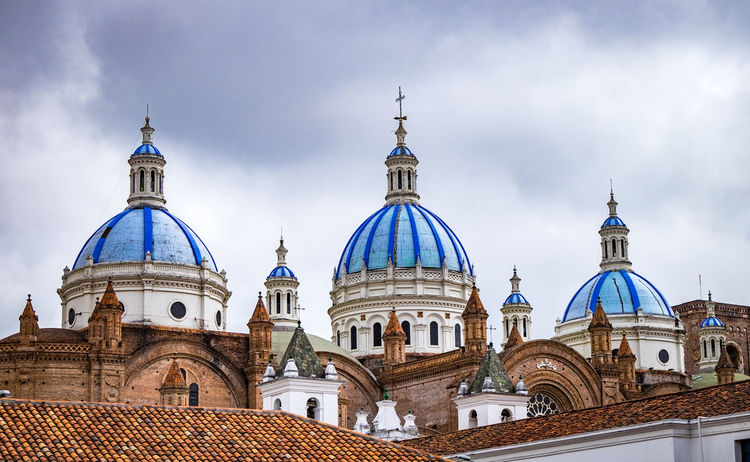Architecture Building Exterior Built Structure Cloud - Sky Cross Cuenca, Ecuador Day Dome No People Outdoors Place Of Worship Religion Sky Spirituality Travel Destinations