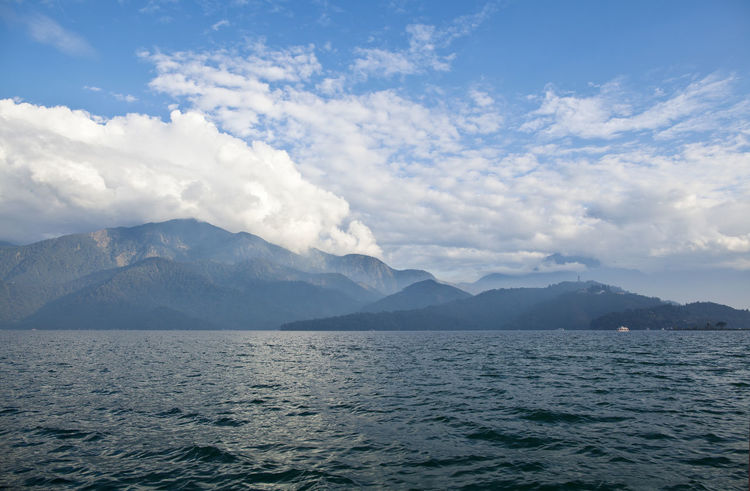 Beauty In Nature Blue Sky Cloud - Sky Day Glacier Lake Landscape Mountain Mountain Range Nature No People Outdoors Refraction Scenics Serene Serenity Sun Moon Lake Taiwan Water