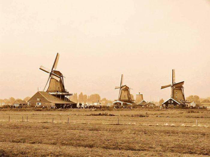 Outdoor Photography Beauty In Nature Countryside Remote Connection No People Great Atmosphere Windmills Photography Dutch Countyside Zaanseschans Dutch Landscape Dutch Village Fieldscape Windmill Day Calm