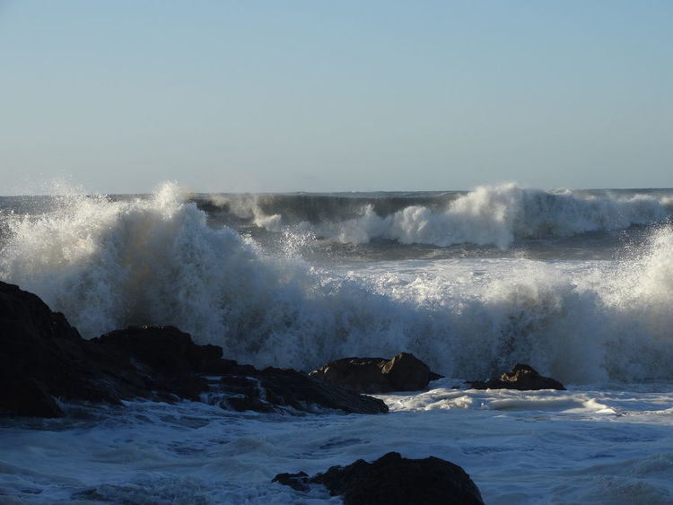Beauty In Nature Breaking Clear Sky Crash Day Force Hitting Nature No People Outdoors Power In Nature Sea Water Wave