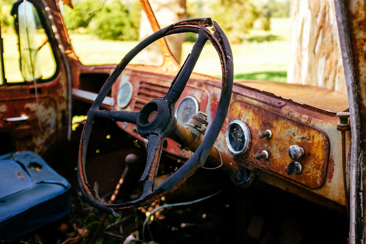 Close-up of rusty car steering wheel
