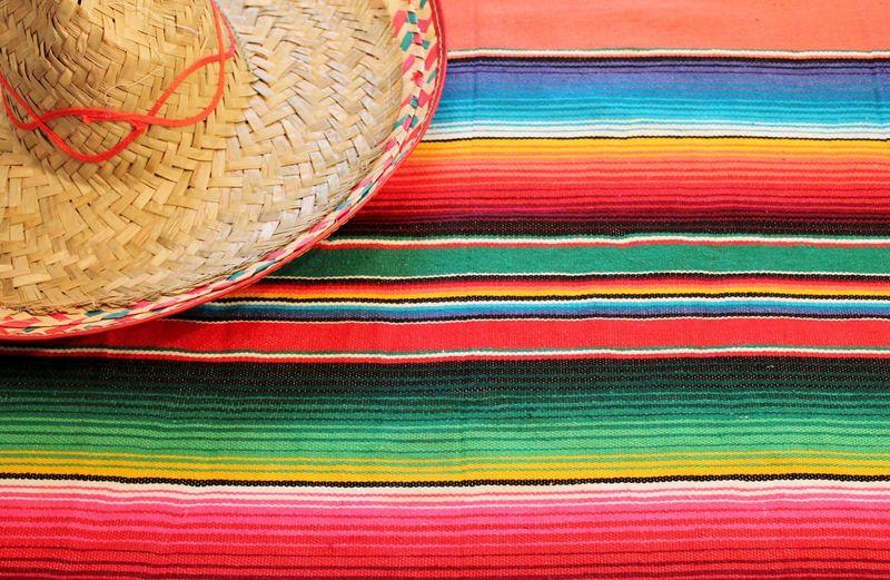 Full frame shot of multi colored wicker basket