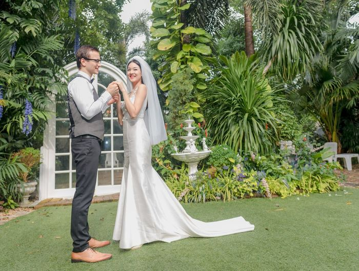 Adult Bride Celebration Couple - Relationship Formalwear Full Length Heterosexual Couple Husband Love Men Newlywed Outdoors Plant Positive Emotion Togetherness Tree Two People Wedding Wife Women Young Adult Young Couple Young Women