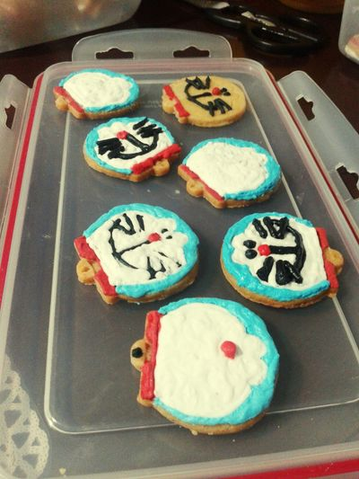 First time icing cookie my homemade haha :'( Cookies Icing Cookies Doraemon