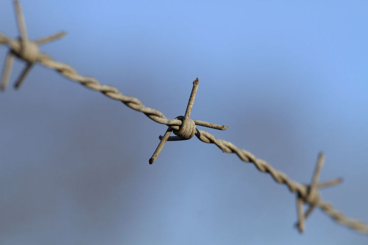 Close-Up Of Barbed Wire Fence Against Sky