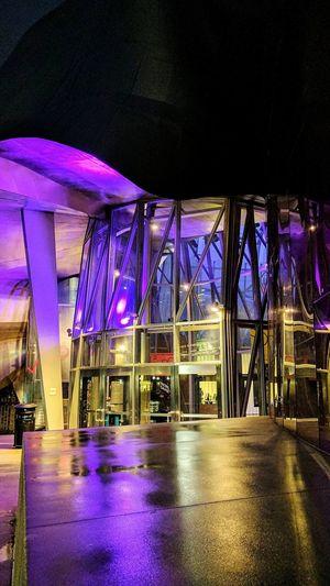 Illuminated purple lights at night