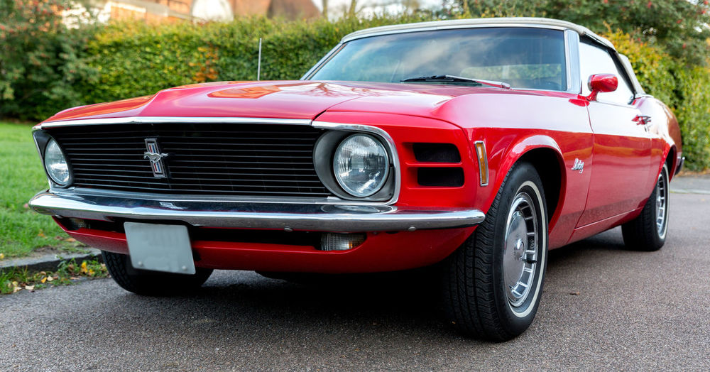 Red Ford Mustang Car Font View Ford Mustang Red Road Shiny