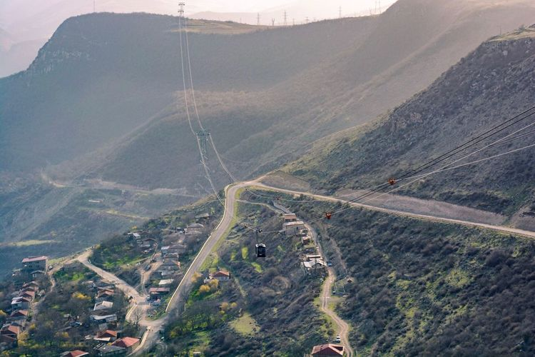 Tatev Armenia Mountain Landscape Road High Angle View Outdoors Scenics Nature Beauty In Nature Travel Destinations Transportation Mountain Range Day Rural Scene No People Sky Tranquility