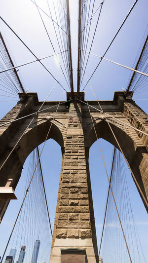 Architecture Bridge - Man Made Structure Brooklyn Brooklyn Bridge  Brooklyn Bridge / New York Brooklynbridge Built Structure Cable Clear Sky Connection Day Low Angle View No People Outdoors Sky Suspension Bridge