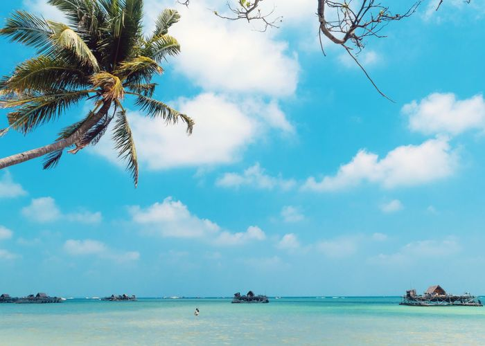 Kelong Tourism Day Travel Travel Destinations Tree Water Nautical Vessel Sea Beach Mountain Palm Tree Blue Beauty Sky Coconut Palm Tree Tropical Tree Houseboat Tropical Climate Wooden Raft Water Vehicle Caribbean Seascape Moored Lagoon Palm Leaf