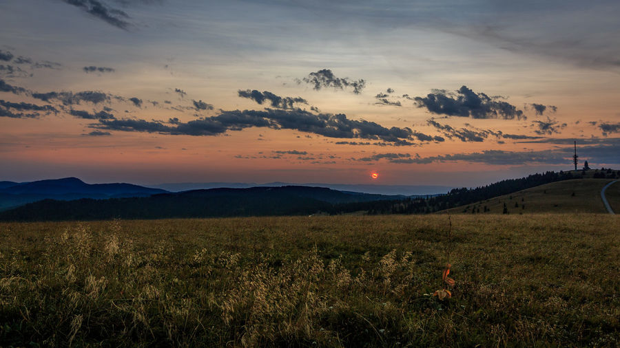 Sonnenuntergang im Schwarzwald Feldberg Beauty In Nature Black Forest Cloud - Sky Clouds Day Field Grass Growth Landscape Mountain Nature No People Outdoors Scenics Schwarzweiß Sky Sunset Tranquil Scene Tranquility
