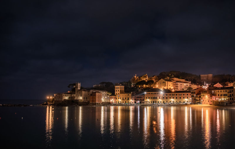 Sestri Levante Night Reflection Illuminated Water Travel Destinations Cloud - Sky Sky Place Of Worship Sea Building Exterior Outdoors