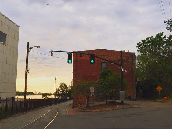 Good morning Port City Riverside Green Light Urban Landscape Brick Building