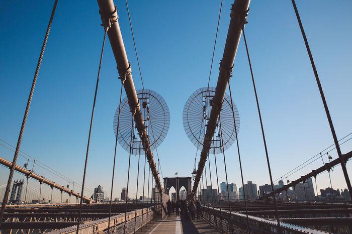 Bridge - Man Made Structure Brooklyn Bridge  Brooklyn Bridge / New York City Cityscape Cold Day December New York New York City No People Outdoors Sky Sunny Winter