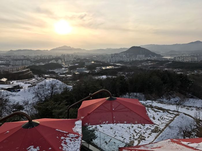 Chuncheon City, Seoul, South Korea, January 2017. Winter Cold Temperature Nature High Angle View Scenics Mountain Range Outdoors Architecture No People Built Structure Frozen Day Sky Sunset