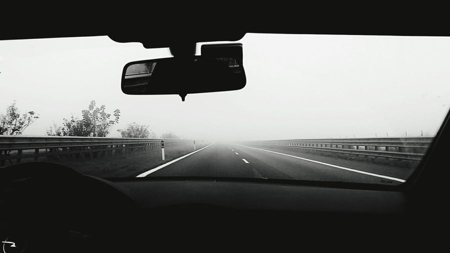 what's your destination? The Drive On The Move Transportation Car Windshield Sky Road Day No People Photo Photography Zhoxha ItalySamsung Galaxy A5 Blackandwhite Destination Ontheroad Nebbia Fog Mist Haze