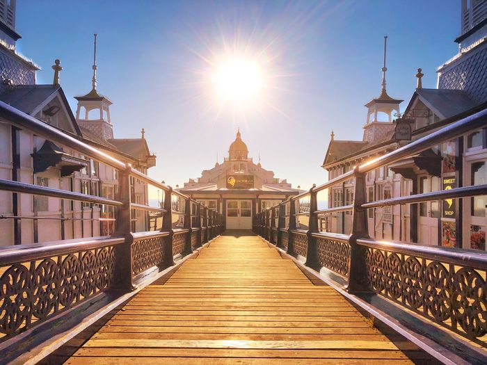 Eastbourne Pier Seaside Pier Sussex Eastbourne Sunrise Architecture Built Structure Sky Sunlight Sun Nature Travel Destinations Diminishing Perspective The Way Forward