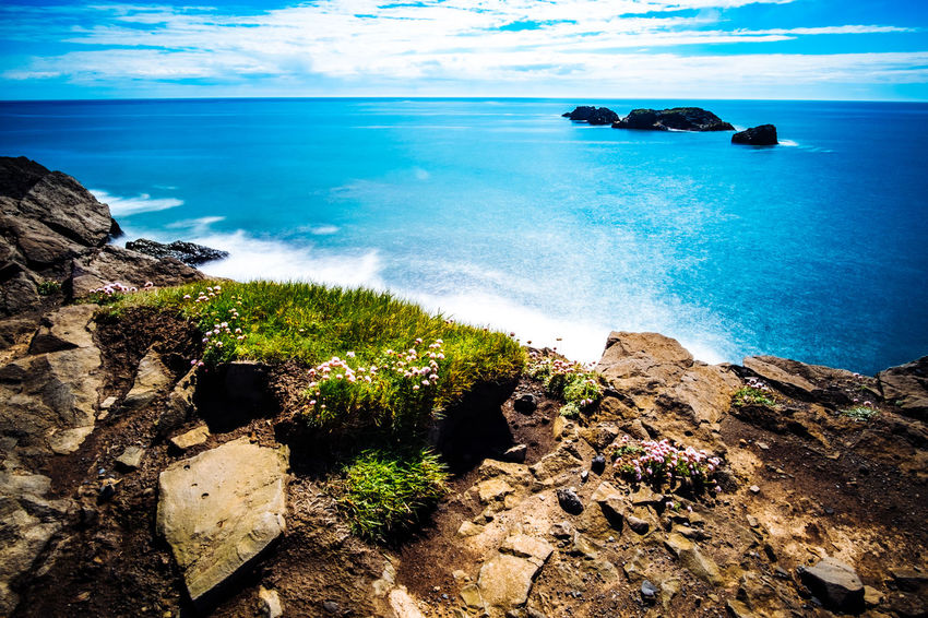 Iceland Beach Beauty In Nature Blue Cliff Cloud - Sky Day Horizon Over Water Landscape Nature No People Outdoors Rock Rock - Object Sand Scenics Sea Sky Tranquil Scene Tranquility Water Wave
