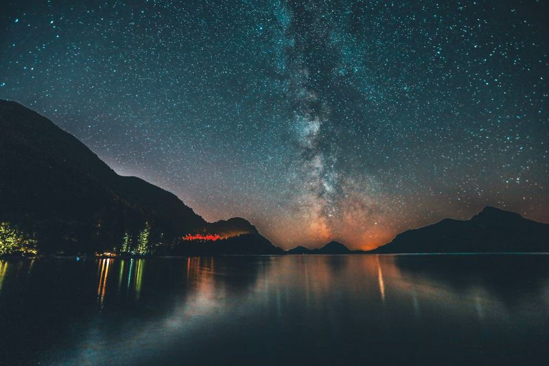 Mountain Star - Space Scenics Beauty In Nature Night Nature Tranquility Tranquil Scene Reflection Astronomy Sky Galaxy Water Lake Mountain Range Milky Way No People Outdoors Constellation Space