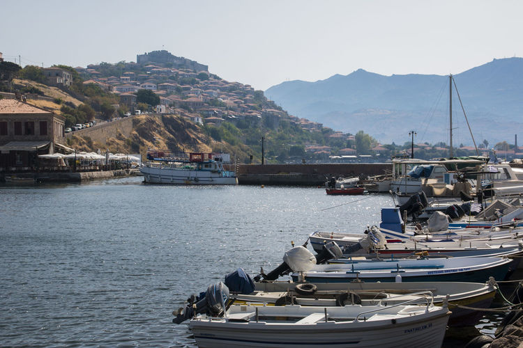 Aegean Sea Architecture Beauty In Nature Boat Clear Sky Day Harbor Lesvos Mode Of Transport Molybos Moored Mountain Mountain Range Nature Nautical Vessel No People Outdoors Scenics Sea Sky Tranquil Scene Tranquility Transportation Travel Destinations Water