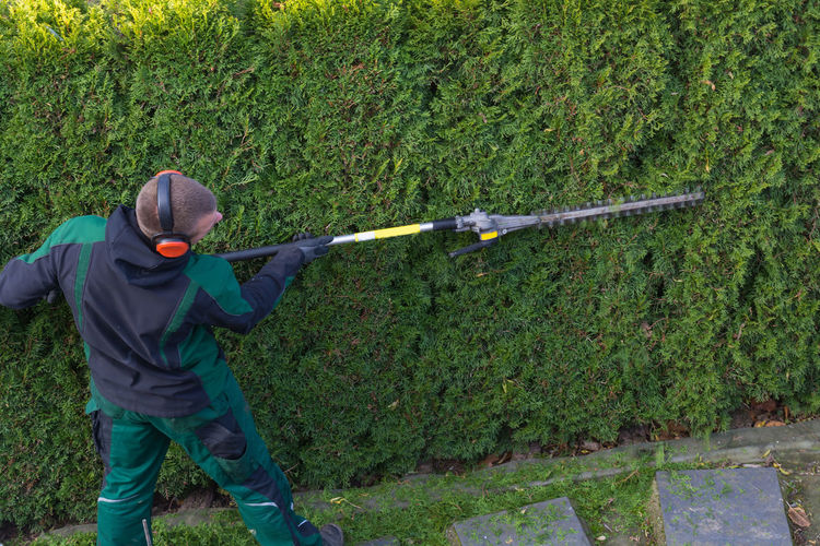 Gardener cuts a hedge with a gasoline hedge trimmer. Shaping a wall of thujas Plant One Person Weapon Nature Holding Green Color Land Leisure Activity Day Grass Real People Men Clothing Standing Tree Lifestyles Field Gun Sport Outdoors Warm Clothing #NotYourCliche Love Letter Humanity Meets Technology
