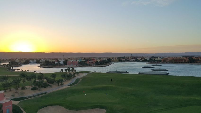 Travel Destinations Travel Tourism Sunset Outdoors Landscape City Sky Beauty In Nature Urban Skyline Nature Golf Course Day No People Elgouna Red Sea Hurghada Egypt Steigenberger Hotel View Golf Golf In Egypt