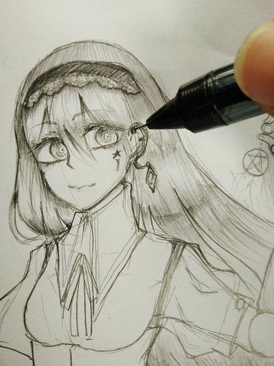 Sketch Drawing Animegirl Doll
