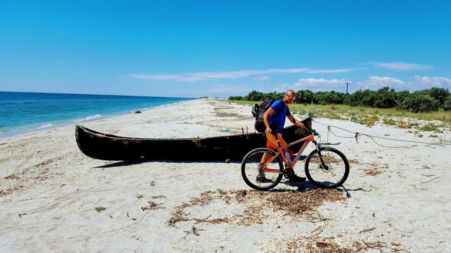 adventure Water Sea Full Length Beach Sand Sky Horizon Over Water Bicycle Boat Water Vehicle Nautical Vessel Sailing Boat Sailing Cycling Shore