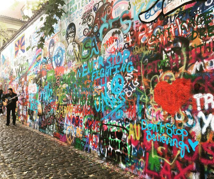 Prague Praha Praga John Lennon Wall Multi Colored Outdoors Inspired Enjoying Life Urban Art Imagine Let It Be