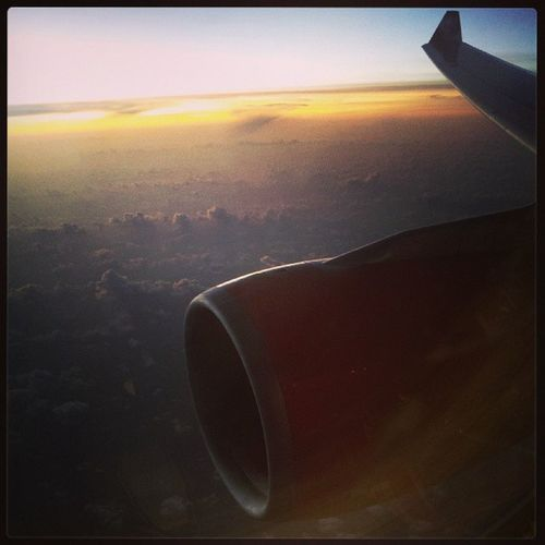 Sunset outside the window of plane... good night ~Airasia Sunset Malaysia