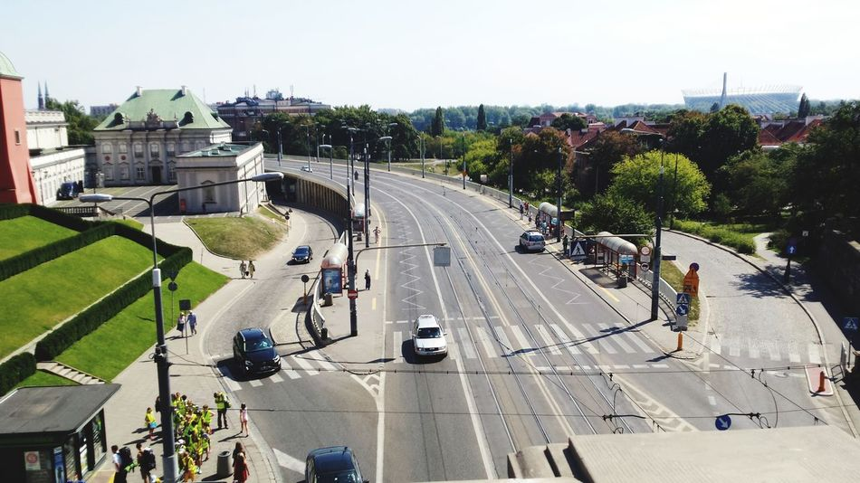 Transportation Road Car High Angle View Mode Of Transport Outdoors City People Cars Real People Yellow Vest Green Green City PhonePhotography Photo From Above City Street Travel Destinations Transportation Warszawa  Tourists Tourist Destination Neighborhood Map